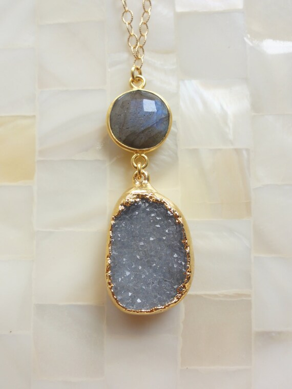 Gold Edge Icy Gray Druzy Pendant with a Blue Flash Labradorite Vermeil Bezel Connector on Gold Chain Necklace