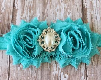 Baby Headband, baby girl headband,Newborn Headband, Shabby Chic Baby Headband in Jade Green,Shabby chic Flower Headband,Baby Hair Bows. # 23