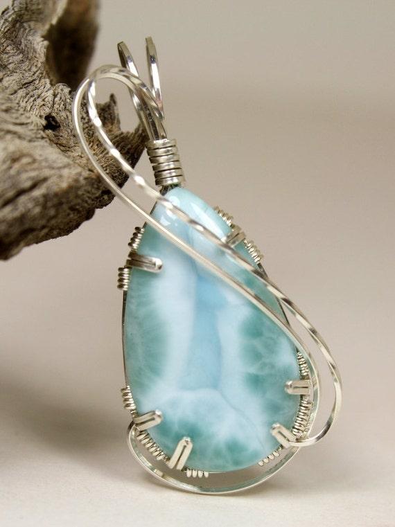 Elegant Larimar Teardrop Aqua Wire Wrap Pendant, Handmade In Sterling Silver
