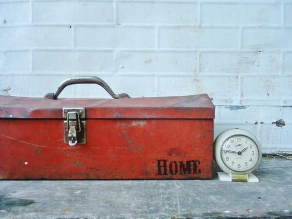RESERVED for Pamela - Vintage Orange Metal Tool Box - HOME