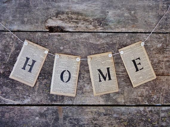 Antique Book Page & Vintage Button Banner - HOME