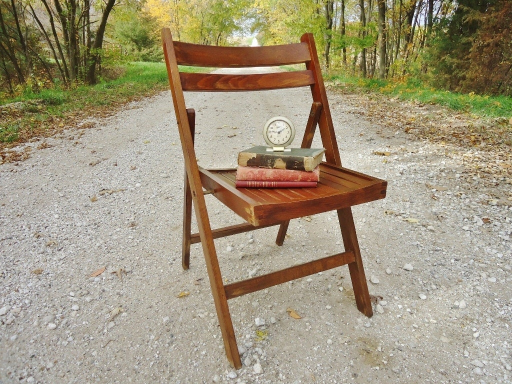 vintage wooden folding chair 2 available