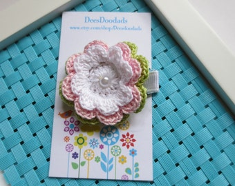 White Orchid Pink and Wasabi Green Crochet Flower Hair Clip