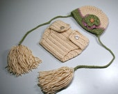 Beanie Hat and Diaper Cover with detachable braids (Cream/Green/Pink Hat with 2 detachable flowers) (Glamour Girl Hat )