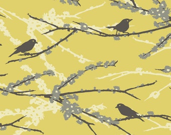 Joel Dewberry - AVIARY 2 - Sparrows in Vintage Yellow JD41 - Free Spirit Fabric - By the Yard