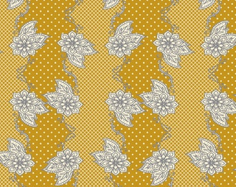 Henna Stripe Mustard (LB-1104)  - Lilly Belle - Bari J for Art Gallery Fabrics -  By the Yard