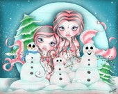 Fantasy Mermaid and Snowman - Let It Snow - Christmas -  Mermaid Open Edition Print 8 X 10