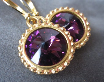 Gold February Birthstone Earrings, Crystal Birthstone Jewelry , Amethyst Earrings, Drop Earrings