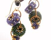 Earrings - Beaded Bead Cascade - purple sage green gold - mardis gras