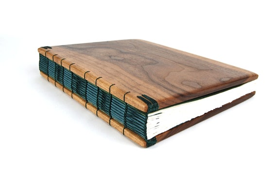 handmade journal - unique wood book in Black Walnut forest blue green gold  large fall autumn wedding guest book - ready to ship
