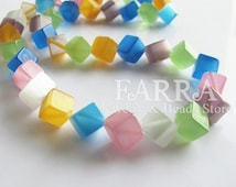 Cube dice opal beads, multi-color 15 inch strands, 8mm blue pink orange white green purple color mixed opal