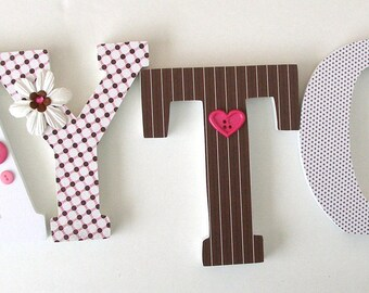 """Set of 6 Decorated 6"""" Wooden Letters, Personalized Nursery Name Décor, Bedroom, Hanging Wood Wall Decorations, Birthday Baby Shower Gift"""
