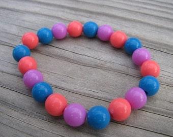 Girls Bracelet- Beaded Children's Jewelry- Dark Pink, Blue, Purple