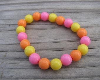 Girls Bracelet- Beaded Children's Jewelry- Pink, Yellow, Orange