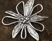 1 LARGE Handcrafted Artisan Flower Connector  in Sterling Silver - Rustic Organic Links AP98