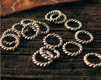 6mm Oxidized Twisted Sterling Silver Jump Rings CLOSED  18 Gauge - 10 Pcs  -JR23