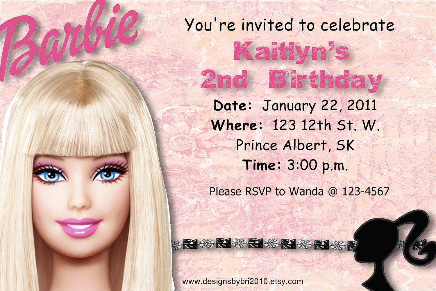 Barbie Birthday Invites