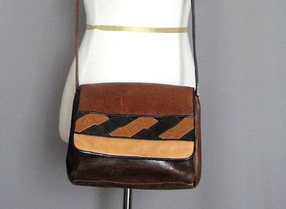 Vintage REPTILE Pattern Leather MIX Shoulder Bag. Made in USA.