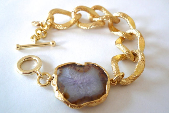 Gold Chain Link Bracelet with Gold Plated Lilac Agate
