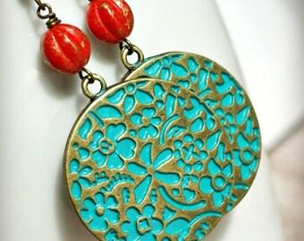 la boheme red and teal flowery brass disk drop earrings, disk earrings, hippie, bohemian