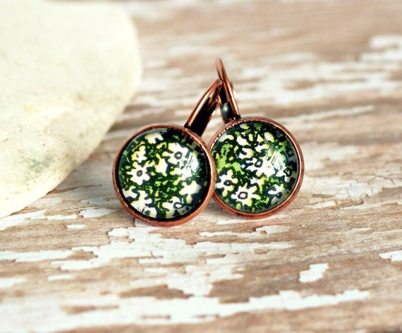 flowery copper lever back cabochon earrings upcycled gardening book picture
