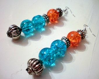 Dangle crackle earrings / summer/ boho / ready to ship / free shipping