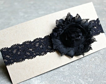 Headband, Baby Headband, Black Shabby Rose Flower on Black Lace Elastic, Custom Size