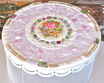Mosaic Hat Box with Vintage China and Stained Glass