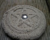 Faux Stone Pentacle with Silver Jewel Center