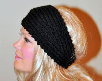 HEADBAND Crochet Earwarmer 100% WOOL Black Headwrap Choose COLOR  Black Ear Warmer Hairband Warm Black Hat  Boho Girly Gift under 50
