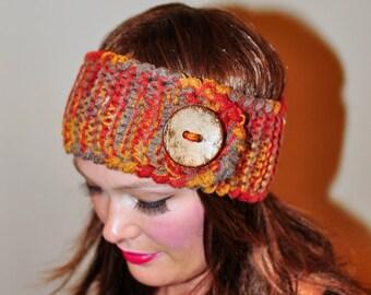 Headband Head wrap Ear warmer  Autumn Print Fall Warm Hair Band Big Button Gift  Marble Eco Neutral Nature