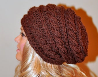 Slouchy Hat Slouch Beanie Cabled Hand Knit Braided Winter Adult Teen CHOOSE COLOR Chocolate Toffee Brown Chunky Gift under 50