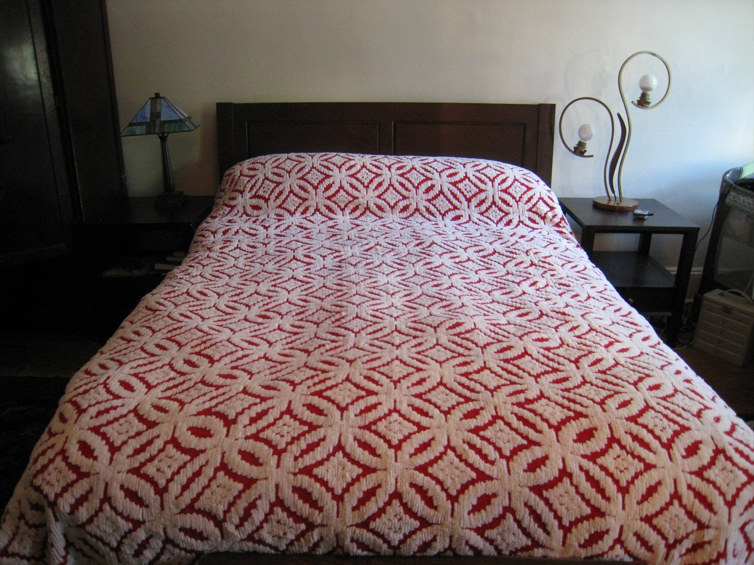 Vintage Chenille Bedspread Red And White Chenille Blanket
