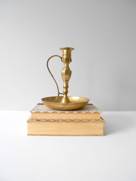 large brass candleholder with handle