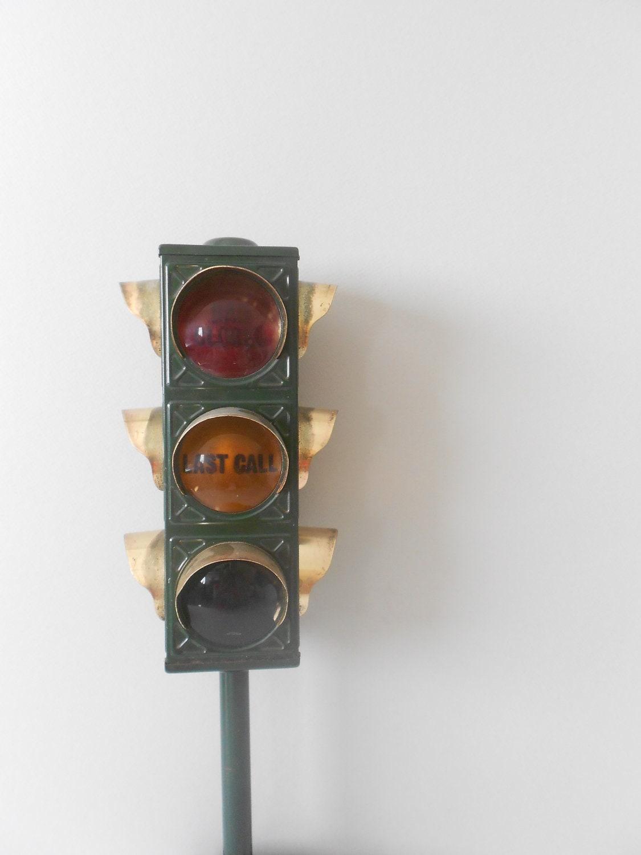 Collectible Bar Lamp Last Call Traffic Light Bar Decor