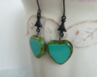 Blue Heart Dangle Earring - Anniversary - Tiffany Blue - Sentimental - Gift For Her - Under 25