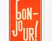 Orange Large illustration print 11.70 x 16.50 (A3). Bonjour. (Special SPRING  offer: Get a poster for free)