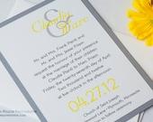Shimmer Metallic or Matte Backing Unique Ampersand Bold Modern Yellow  Slate Gray Grey Wedding Invitations Invitation Invites Invite Sample