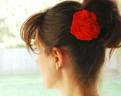 Ruby Red Carnation Hair Clip or Clip - Repurposed Tshirt - Floral Hair Accessories