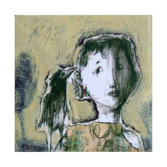 "original  mixed media canvas CHICK portrait  square 4""x 4"""