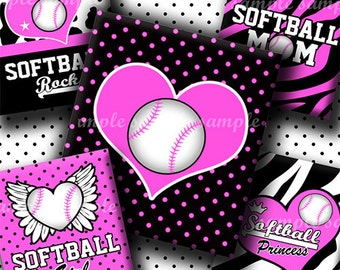 INSTANT DOWNLOAD Pink Softball Rocks (564) 4x6 Digital Collage Sheet (0.75 inch x 0.83 inch) scrabble tile images for scrabble tiles