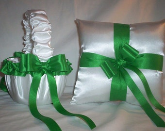 White Satin With Kelly Green Ribbon Trim Flower Girl Basket And Ring Bearer Pillow
