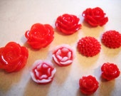 Flower Cabochons Red Red Assorted Styles and Sizes 10mm-20mm Resin Flowers Roses Mums 10 pieces
