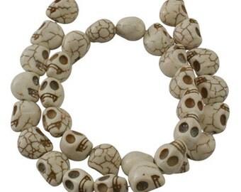 """Skull Beads Ivory Full Strand 16"""" 33 pieces Howlite Skull Beads 12mmx10mm"""