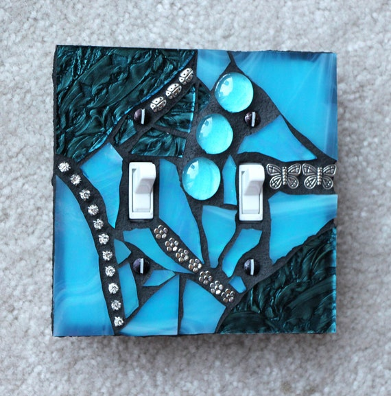 Amazing Aqua -  Handcrafted turquoise  Double Mosaic Light Switch Cover Wall Plate