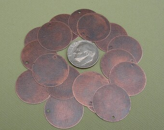 20pcs- Antiqued Copper  Flat Round Blank Disk 20mm.