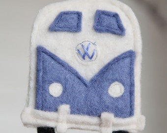 blue VW bus ornament - recycled felted wool