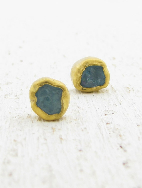 Gold Studs - Apatite  24k Gold Studs -  Post Earrings