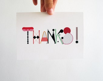 Thank you printable card -  thanks - color