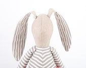 Toy , Fabric doll - Beige Rabbit in Gray and white striped shirt Wearing Coral peach pants - handmade doll